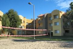 Кампус, внутренняя территория с волейбольной площадкой, California State University