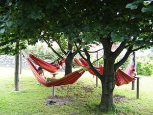 Отдых на гамаках в парке в детском языковом лагере Австрии Zell am See